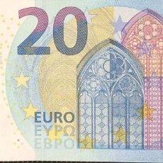 Billetes españoles: 20 EUROS DE LA SEGUNDA FIRMA DRAGHI, PLANCHA U022A4, LETRA UC,SC/PLANCHA. Lote 151452366