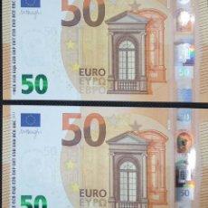 Billetes españoles: PAREJA CORRELATIVA DE 50 EUROS, AÑO 2017, 3 FIRMA DE DRAGHI, LETRA EB, SIN CIRCULAR/PLANCHA. Lote 151452550