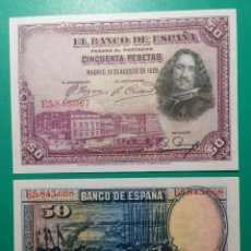 Billetes españoles: 50 PESETAS 1928. SERIE E. PAREJA CORRELATIVA. SC.. Lote 151453264
