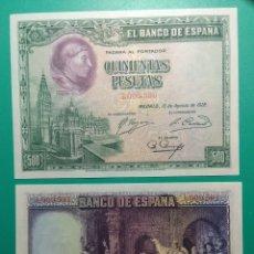 Billetes españoles: 500 PESETAS 1928. PAREJA CORRELATIVA. SC.PLANCHA.. Lote 151455274