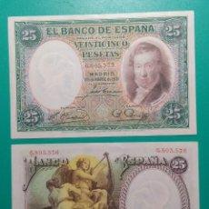 Billetes españoles: 25 PESETAS 1931. PAREJA CORRELATIVA. SC.. Lote 151458633