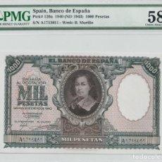 Billetes españoles: BILLETE 1000 PESETAS 1940 CERTIFICADO PMG 58. Lote 151469562