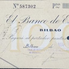 Billetes españoles: 100 PESETAS DE 1936 BILBAO, SIN CIRCULAR-, RARISIMO ASI CONSERVADO. Lote 151469674