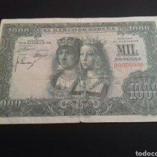 Billetes españoles: BILLETE DE MIL PESETAS DEL AÑO 1957- REYES CATOLICOS-SERIE 00000000. Lote 151523649