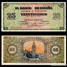 Billetes españoles: ESPAÑA 25 PESETAS 1938 S/C-. Lote 151524970
