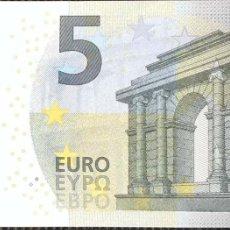 Billetes españoles: 5 EUROS DE LA TERCERA FIRMA DE DRAGHI PLANCHA T003D1, LETRA TC0068374298,SC/PLANCHA. Lote 151537278
