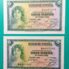 Billetes españoles: 5 PESETAS 1935. PAREJA CORRELATIVA. SC. PLANCHA.. Lote 151547994