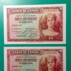 Billetes españoles: 10 PESETAS 1935. PAREJA CORRELATIVA, SIN SERIE. SC.PLANCHA.. Lote 151549622