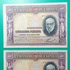 Billetes españoles: 50 PESETAS 1935. PAREJA CORRELATIVA. SC.. Lote 151550648