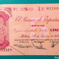 Billetes españoles: 5 PESETAS BILBAO. 30 AGOSTO 1936.. Lote 151551789