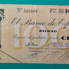Billetes españoles: 100 PESETAS BILBAO. 1936.. Lote 151556901
