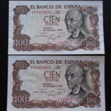 Billetes españoles: ESPAÑA 100 PESETAS 1970, DOS CORRELATIVOS UNC-SIN CIRCULAR MANUEL DE FALLA. Lote 151593370