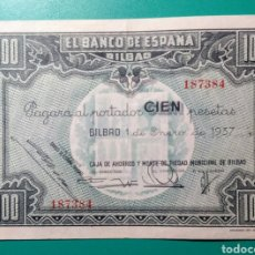 Billetes españoles: 100 PESETAS 1937. BILBAO. SIN SERIE.. Lote 234016245