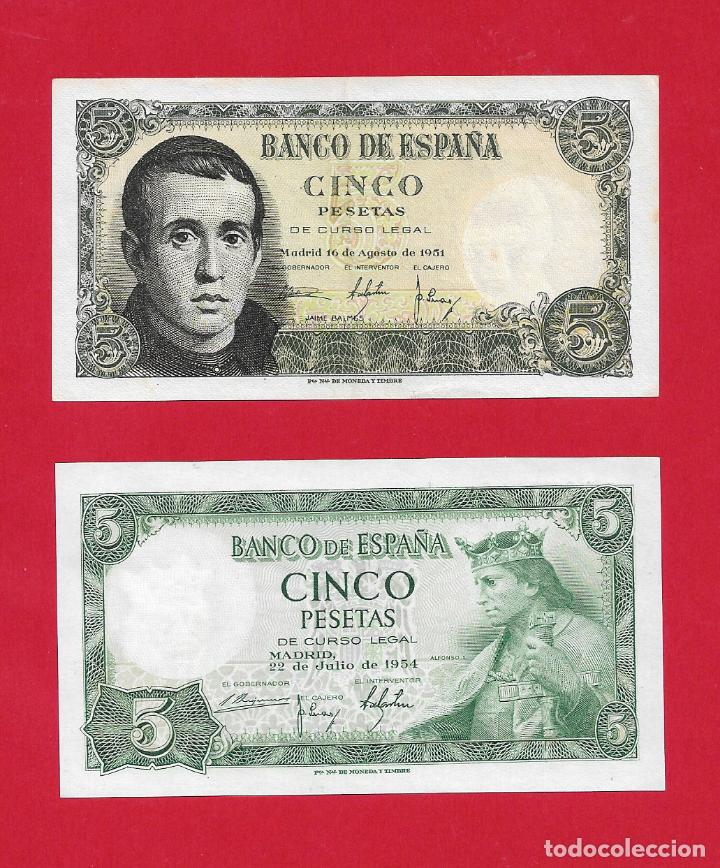 DOS BILLETES DE 5 PESETAS 1951/1954 SC/SC-