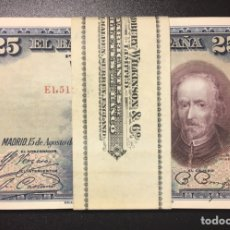 Billetes españoles: 25 PESETAS 1928 ÚLTIMA SERIE E PLANCHA DE TACO REF E15A. Lote 152213270