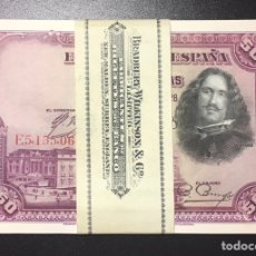 Billetes españoles: 50 PESETAS 1928 ÚLTIMA SERIE E PLANCHA DE TACO REF E5AS. Lote 152213244