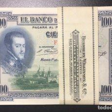 Billetes españoles: 100 PESETAS 1925 ÚLTIMA SERIE F PLANCHA DE TACO REF F&21. Lote 152213010
