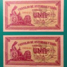 Billetes españoles: 1 PESETA 1937. PAREJA CORRELATIVA. SC. PLANCHA.. Lote 152210826