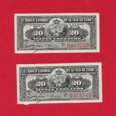 Billetes españoles: PAREJA CORRELATIVA DE 20 CENTAVOS *BANCO ESPAÑOL DE LA ISLA DE CUBA* 1897 SC. Lote 152213262