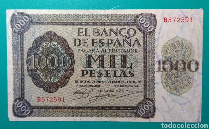 1000 PESETAS 1936. SERIE B. (Numismática - Notafilia - Billetes Españoles)