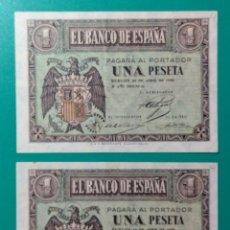 Billetes españoles: 1 PESETA ABRIL 1938. PAREJA CORRELATIVA. SERIE A. SC.. Lote 152228732