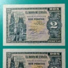 Billetes españoles: 2 PESETAS ABRIL 1938. PAREJA CORRELATIVA. SERIE A. SC.. Lote 152230614