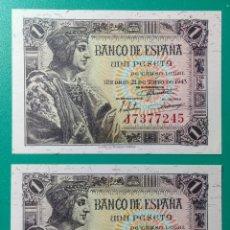 Billetes españoles: 1 PESETA 1943. PAREJA CORRELATIVA. SC.. Lote 152350489