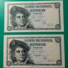 Billetes españoles: 5 PESETAS 1948. PAREJA CORRELATIVA.. Lote 152354341