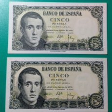 Billetes españoles: 5 PESETAS 1951. PAREJA CORRELATIVA. SC.. Lote 152365714