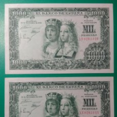 Billetes españoles: 1000 PESETAS 1957. PAREJA CORRELATIVA. SC.. Lote 152371728