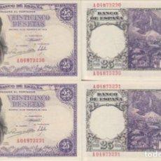 Billetes españoles: PAREJA CORRELATIVA DE 25 PESETAS DE 1946 SERIE A, NUMERO BAJO, SIN CIRCULAR/PLANCHA. Lote 152383662