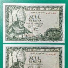 Billetes españoles: 1000 PESETAS 1965. PAREJA CORRELATIVA.. Lote 152488068