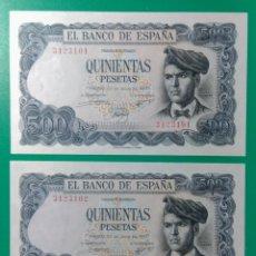 Billetes españoles: 500 PESETAS 1971. PAREJA CORRELATIVA. SIN SERIE. SC.. Lote 152490353