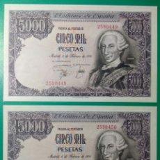 Billetes españoles: 5000 PESETAS 1976. PAREJA CORRELATIVA. SIN SERIE. SC. PLANCHA.. Lote 152493121