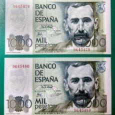 Billetes españoles: 1000 PESETAS 1979. PAREJA. SIN SERIE. SC. PLANCHA.. Lote 152587497