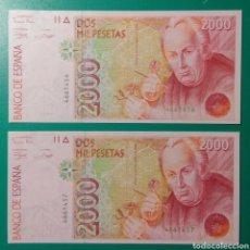 Billetes españoles: 2000 PESETAS 1992. PAREJA. SIN SERIE. SC. PLANCHA.. Lote 152593381
