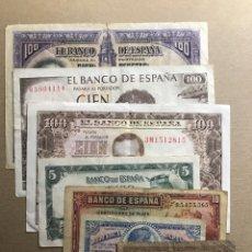 Billetes españoles: LOTE 7 BILLETES CIRCULADOS DESDE 1937 HASTA 1965. Lote 152637636