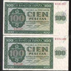 Billetes españoles: PAREJA CORRELATIVA 100 PESETAS 1936 EBC+. Lote 153342438