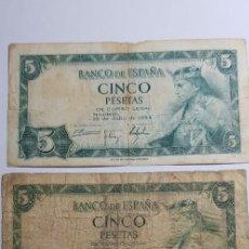 Billetes españoles: BILLETES 5 PESETAS 1954 SIN SERIE; SERIE 'R' Y SERIE 'T'. Lote 153541498