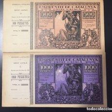 Billetes españoles: 2 BILLETES EMPRESTIT DE CATALUNYA. ESTAT CATALÀ. 500 , 1000 PESETAS 1925 CON MATRIZ.. Lote 154216000