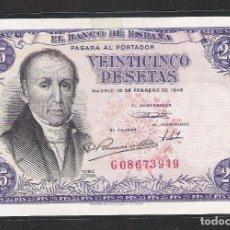 Billetes españoles: 25 PESETAS 1946 SERIE G S/C. Lote 151388962