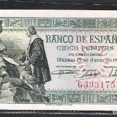 Billetes españoles: 5 PESETAS 1945 SERIE G S/C. Lote 151390726