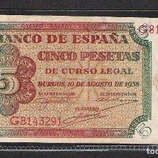 Billetes españoles: 5 PESETAS 1938 SERIE G S/C-. Lote 151405570