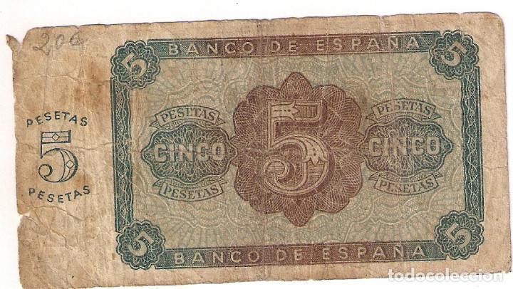 Billetes españoles: BILLETE DE 5 PESETAS - BURGOS 10 DE AGOSTO DE 1938 - CIRCULADO - Foto 2 - 154759098