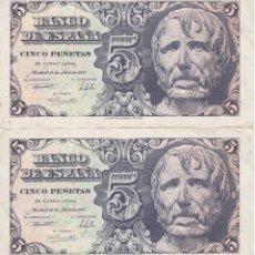 Billetes españoles: PAREJA IMPAR DE 5 PESETAS DEL AÑO 1947 DE SENECA SERIE A EN BUENA CALIDAD. Lote 155091018