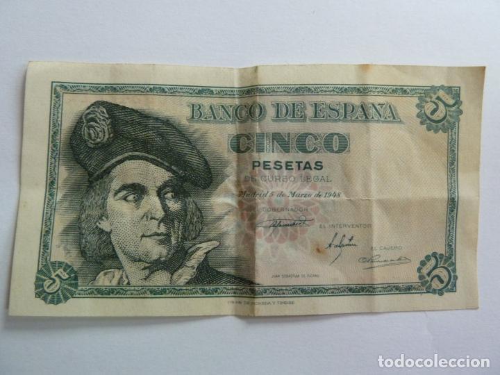 CINCO PESETAS. MARZO 1948 (Numismática - Notafilia - Billetes Españoles)