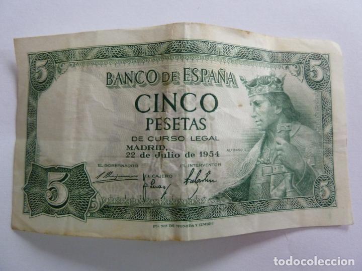 Billetes españoles: CINCO PESETAS. JULIO 1954 - Foto 2 - 155238706
