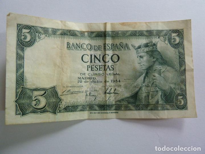 Billetes españoles: CINCO PESETAS. JULIO 1954 - Foto 2 - 155238918