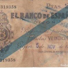 Billetes españoles: BILLETE DE 25 PESETAS DEL BANCO DE ESPAÑA-GIJON DEL AÑO 1936 . Lote 155268954