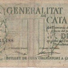 Billetes españoles: BILLETE DE 10 PESETAS DE LA GENERALITAT DE CATALUNYA DEL AÑO 1936 SERIE C. Lote 155269438